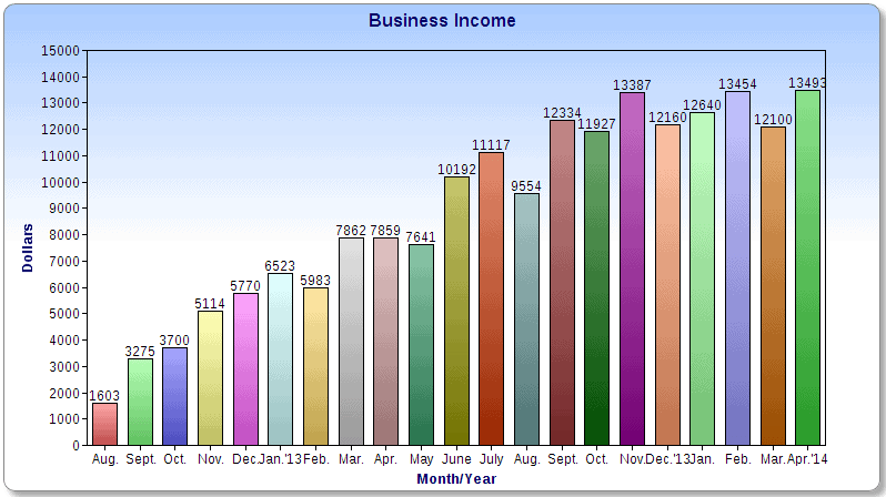 $13,493 in April Business Income Chart