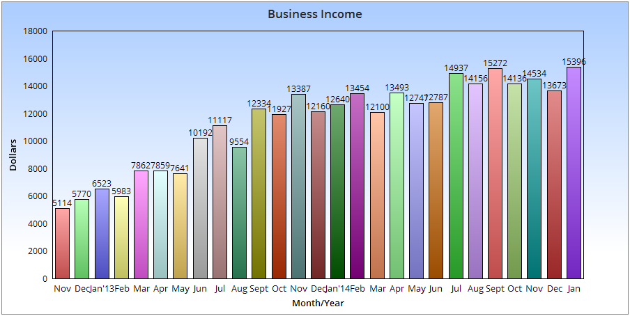 $15,396 January Income – My Monthly Online Income Report Chart