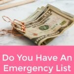 Do You Have An Emergency List For Your Family?