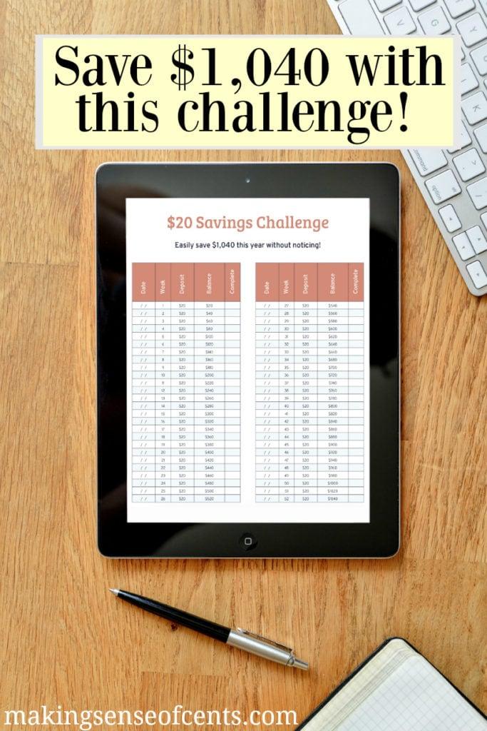 $20 Savings Challenge $1,040