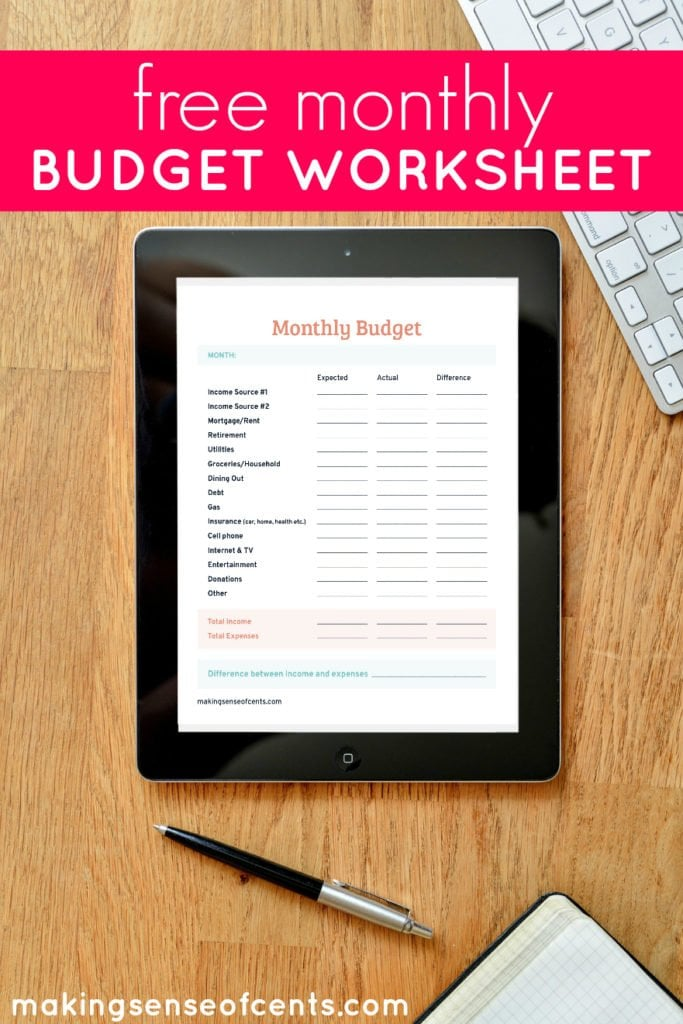 Free Monthly Budget Worksheet Making Sense Of Cents