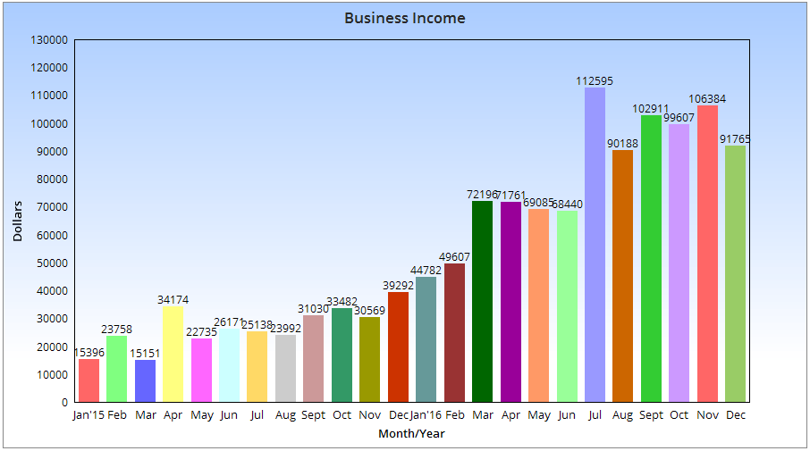 Here is my blogging income chart that displays my income for the past 2 years.