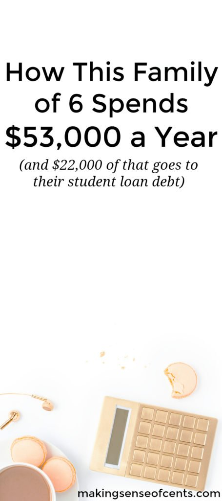 Penny's family of six spends just $53,000 a year, with $22,000 of that going towards their student loan debt. Here is her story.