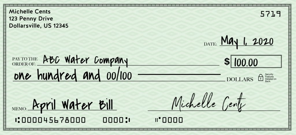how to write a check for 100 dollars without cents