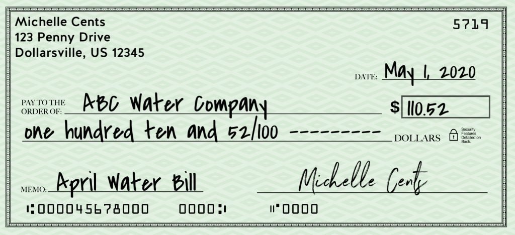 how to write a check - full check written out