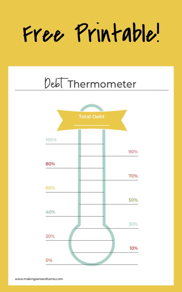 free debt thermometer printable
